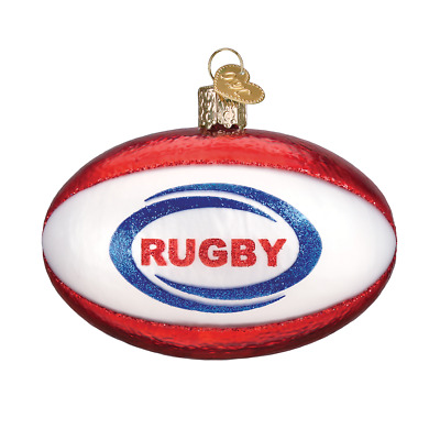 """Rugby Ball"" (44128)X Old World Christmas Glass Ornament w/ OWC Box"