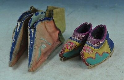 Antiqu. Chinese Silk Embroidered Lotus Shoes