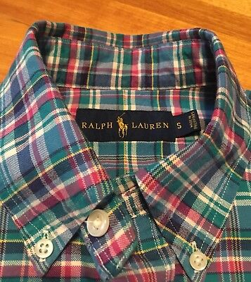 Label Plaid Button Ralph Polo Blue Small Preppy Up Gorgeous Shirt Lauren yvm8ONn0w