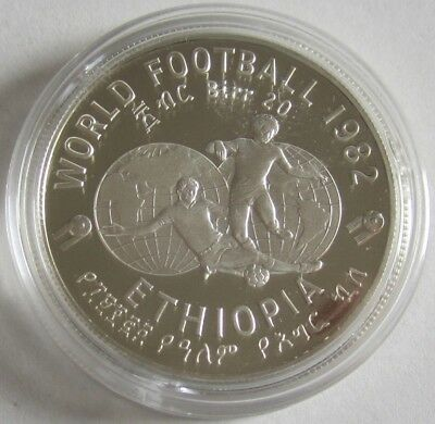 Ethiopia 20 Birr 1982 Football World Cup in Spain Silver