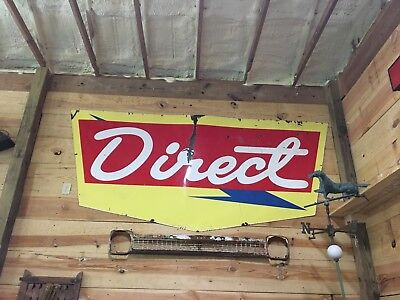 Rare Vintage Original DIRECT Porcelain Sign