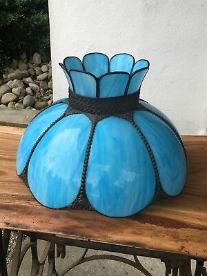 Vintage Victorian Slag Blue Stained Glass Hanging Ceiling Light Table Lamp Shade