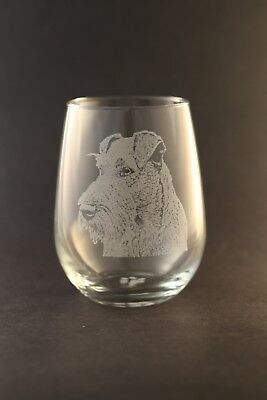 New! Etched Irish Terrier on Large Elegant Stemless Wine Glasses - Set of 2