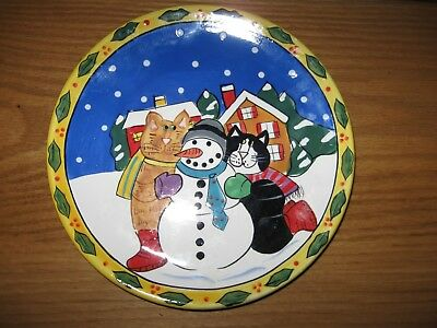 """8"""" Catzilla Candace Reiter Cat & Snowman Winter Christmas Plate  Unused"""