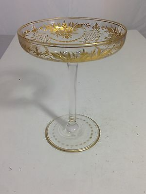 Moser Cut Glass Compote Gold Guilded Paint