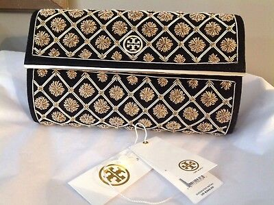NWT Tory Burch black suede with gold metallic design evening bag clutch $395