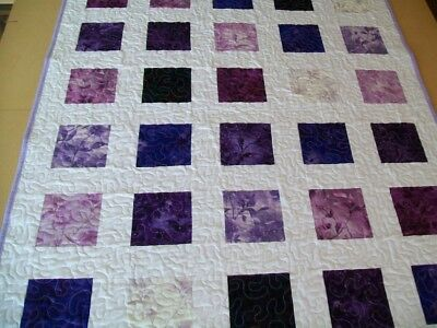 HANDMADE Baby Cot Quilt - Beautiful Purple Botanical Print with White Background