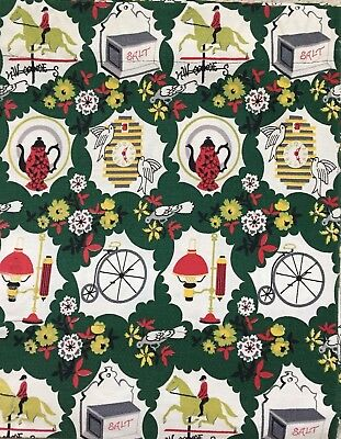 Midcentury Vintage Barkcloth Panels. Vibrant colors of Red, Green and Chartreuse