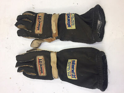 STAND 21 Racing Gloves, outside seam, long cuff, leather palm, Size 11