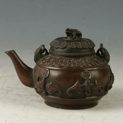 Chinese Bronze Hand-carved bat &Copper Money Teapot W Daqing Dynasty Mark MY0745