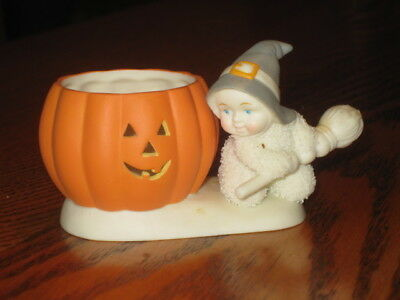 Dept 56 Snowbabies Halloween Witch and Pumpkin Jack-o-Lantern Tea Candle Holder