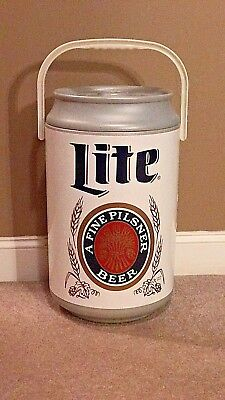 Miller Lite Can Shaped Cooler Great For Tailgating Holds Up To 30 Cans & Ice