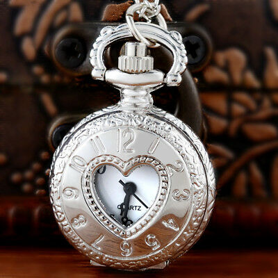 Antique Silver Heart Shaped Pocket Watch Vintage Quartz Necklace Pendant Gift