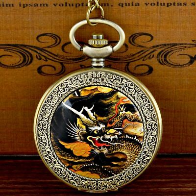 Vintage Dragon Pattern Steampunk Pocket Watch Antique Quartz Pendant Necklace
