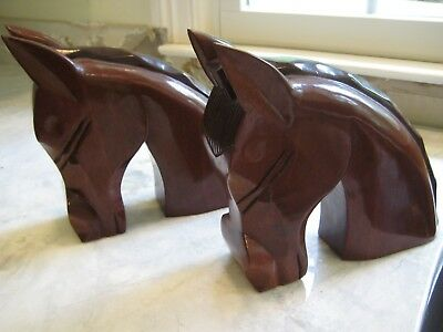 Pair Vintage Hand Carved Wood Wooden Horse Head Bookends Cherry?