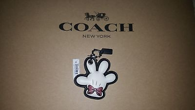 NWT Coach DISNEY X MINNIE MOUSE Glove Bow Pink Hangtag Keychain Limited Edition