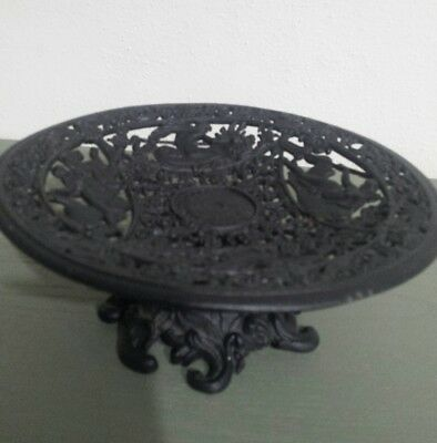 Vintage Ornate Cast Iron Art Mythology Zeus Footed Circular Very Detailed Unique
