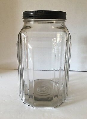 Large Antique Necco Candies Jar Art Deco Skyscraper Glass Candy Container