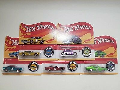 Hot Wheels 2018 50Th Anniversary Redline W/button Set Of 5 Retro Card/blister