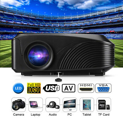 Mini LED 4000 Lumens Projector 1080P 3D HDMI USB VGA AV TF Outdoor Home Theater