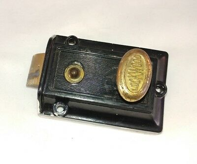 Antique Vintage Lockwood Cast Iron Brass Knob Lock Switch Black Door