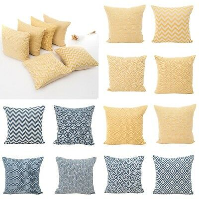Yellow/Blue Geometric Polyester Pillow Cases Sofa Back Cushion Cover Home Decor