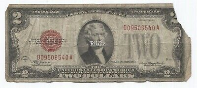 US Legal Tender $2 Dollars Note - 1928-D - Red Seal - D09506540A