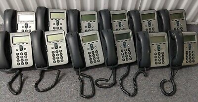 Lot of 12x Cisco CP-7911 CP-7906 VoIP Telephones with stands, cords & handsets