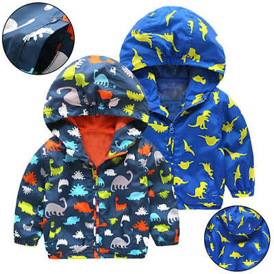 Kid Boys Dinosaur Printed Outerwear Waterproof Windproof Hooded Rain Coat Jacket