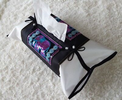 New Thai Silk Classic Hand Embroidered Tissue Covers Box Elephants:black&white