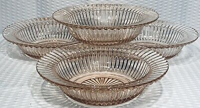 """Set Of 4 Queen Mary Depression Pink Glassware Anchor Hocking 6"""" Cereal Bowls"""