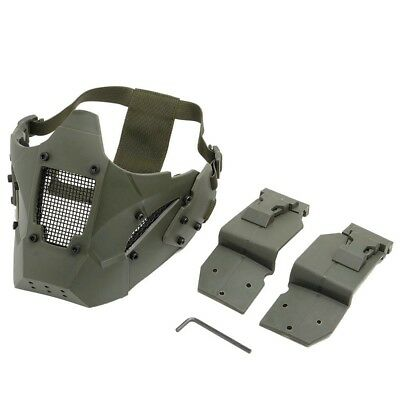 Airsoft Tactical Half Face Mask Protective Paintball Fit AF Rail Helmet Green