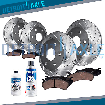 Front & Rear DRILLED Rotors + Ceramic Pads for 2010 2011 - 2015 Cadillac SRX