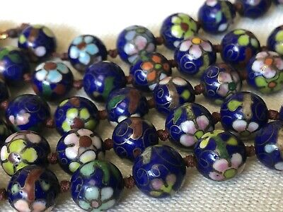 Vintage Chinese Cloisonne Enamel Hand Knotted Beads Necklace