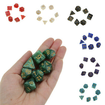 7 Piece Glitter Polyhedral Dice Set for Dungeons and Dragons TRPG DND Table Game