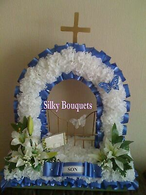 Artificial Silk Funeral Flower Gates of Heaven Tribute Wreath Memorial Faux Dad