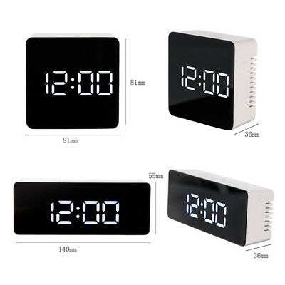 Mirror LED Alarm Clock Night Lights Thermometer Digital Wall Clock LED Lamp GE