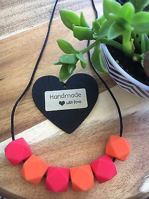 Silicone Necklace Mum Jewellery Sensory Bead (was Teething) Gift Aus Bright Red