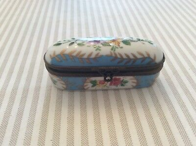Antique French TRINKET HANDPAINTED BOX - FLORAL With GILT TRIM -Beautiful