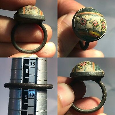 Extremely Rare Museum Quality Mosaic Glass Wonderful Bronze Ring #sh1003