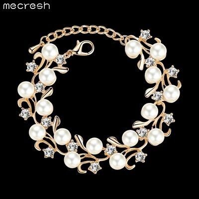 Mecresh Perfect Round Pearl Bridal Bracelets Women's Golden Engagement Bracelet