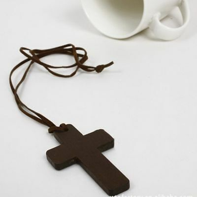 Retro Sweater Chains Cord Gift Wooden Leather Pendant Cross Jewelry Necklace