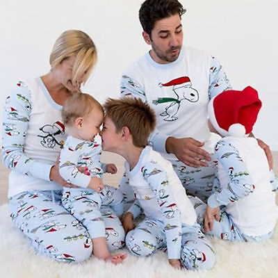 US Family Matching Christmas Pajamas Set Women Baby Kids Winter Sleepwear
