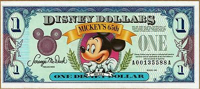 Disney Dollar 1993  Mickey's 65 Birthday  A Series  NEW