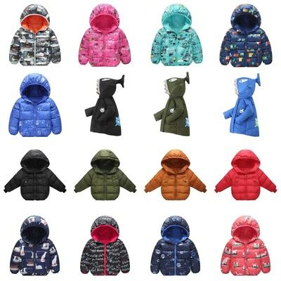 Toddler Baby Boy Girl Winter Warm Cotton Padded Hooded Coat Jacket Outwear 0-6T