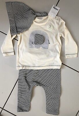 🐘Three Piece Outfit Set by NEXT. Elephant. Top Trousers Hat. 6-9 months NEW