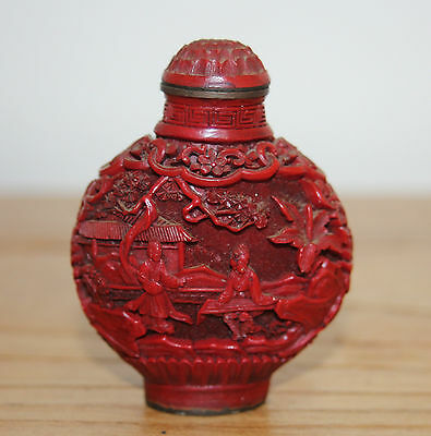 Beautiful Old Chinese Cinnabar Laquer Snuff Bottle Height 7cm Width 5cm