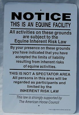Vintage Noble Beast Graphics Equine Liability Sign Horses 18x12