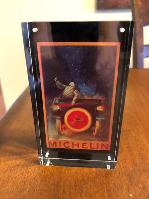 Michelin Man Circa 1970 Lucite Adverting Sign Paperweight
