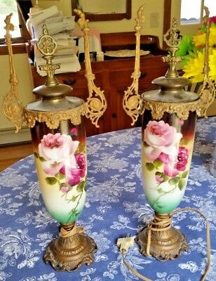 Antique victorian rose lamps pair solid brass tops and bottoms